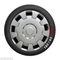"Universal 14"" Car Wheel Trims Hub Caps Plastic Wheel Covers Set of 4 Silver12314"