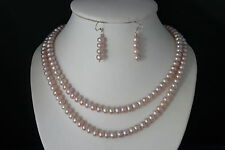 """Beautiful  Necklace Set With Pinkis/bronz ColorPearls 18"""" Inches.Long + Earrings"""