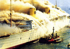 Photo: 5x7: RMS Queen Elizabeth Aflame In Hong Kong Harbor, January 10th, 1972
