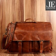 LECONI Messenger Bag Collegetasche DIN A4 Aktentasche Leder braun LE3029-wax