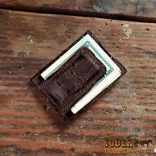 Brown Alligator Amish Handmade Magnetic Money Clip Wallet - Gator Cash Holder