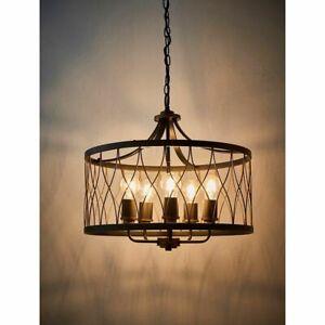 ENDON Heston 5 x 60W E27 Pendant Ceiling Light Matt Black & Rustic Bronze 61498