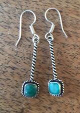Natural Emerald Earrings 925 Silver Plated Over Solid Copper