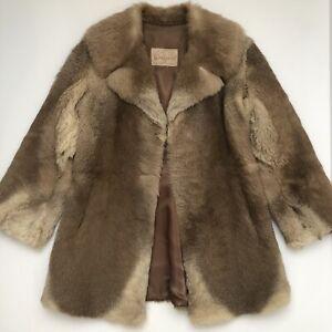 Vintage Genuine Kangaroo Fur Coat Made In Australia 60s 70s Overcoat Winter