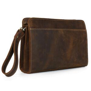 Men's Full Grain Leather Clutch Bag Merchant Purse Business Large Wallet Handbag