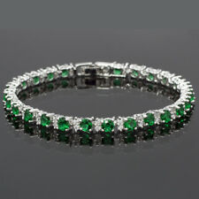 Women Hot Sale Rhinestone Round Cut Green Emerald Tennis Fashion Bracelet
