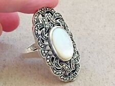 HSN Dallas Prince Moonstone & Marcasite Sterling 925 ring Size 10