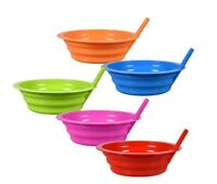 BPA Free Dishwasher Safe Colorful Plastic Bowls with Built-In Straws Pick Color