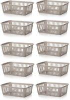10x Whitefurze Plastic Nestable Handy Tidy Storage Basket Tray 25cm - Silver