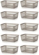 10x Whitefurze Plastic Nestable Handy Tidy Storage Basket Tray 25cm - Silver