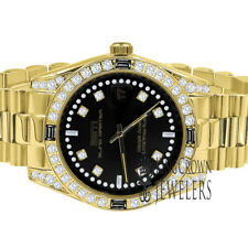 Mens Full Stainless Steel Black Onyx Dial Simulated Diamond Gold Tone 40mm Watch