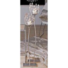 Leuchter TREVI M. Glaswindlicht Metall Silber H. 93 Cm