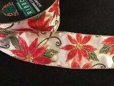 "50 Yards! Christmas Poinsettia  Wired Ribbon  2.5"" Christmas Bulk Lot Wholesale"