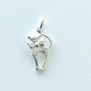 Silver solid 925 kitty cat charm pendant For Charm bracelet or necklace  A58P