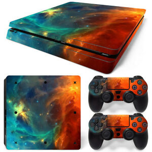 For PS4 Slim Console & 2 Controllers Cosmic Space Vinyl Skin Wrap Decal