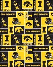 College University of Iowa Hawkeyes Print Fleece Fabric by the yard #siowa012s