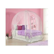 Twin Metal Cinderella Princess Pumpkin Carriage White Bed Frame Canopy Disney