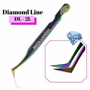 Diamond Swon Lashes Extension Tweezers Precise 💎 Fanning Curved 3D 15D volume L