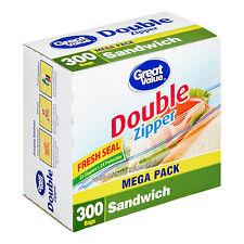 Great Value® Double Pinch Seal ZipperTravel Food Storage Bags, Sandwich, 300 C