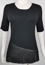 """TSE Black Sweater Size XL Crochet Hem Fine Ribbed Knit Wool Blend Bust 42-44"""""""