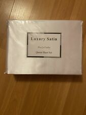 Luxury Satin Queen Sheet Set. White, New, Sealed Zipped Bag. 100% Polyester.