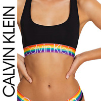 Genuine Calvin Klein Women's Black Bralette Rainbow PRIDE Racer Back Sports Bra