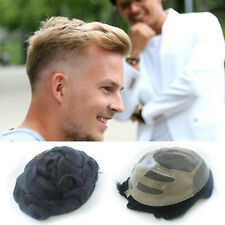 Durable Hair Replacement Fine Mono Center Skin Front Mens Toupee Noblehairplus