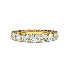 Genuine 1.80 Ct Real Diamond Eternity Band Ring 14K Yellow Gold Rings Size J P