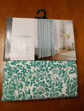 Threshold Shower Curtain Green Botanical Floral White 100% Cotton 72 in. X 72 in