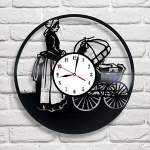 Georgian time baby buggy vinyl record clock home decor art kids bedroom shop