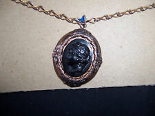 Vintage Coro signed Black Cameo Necklace with original Chain
