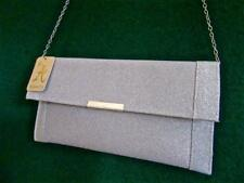 New ACCESSORIZE Luxurious KATIE Silver Glitter CLUTCH Evening Bag with Chain