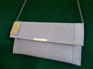 New ACCESSORIZE Sparkly KATIE Silver Glitter CLUTCH Evening Bag with Chain