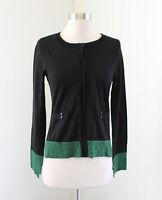 Yoana Baraschi Knitwear Green Black Color Block Cardigan Sweater Size S Wool