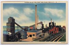 NY Postcard Troy Hudson Valley Fuel Corp Coke Plant buildings stacks Teich linen