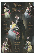 Romance Postcard - Tender Thoughts - Showing Young Lady and Young Man    1705