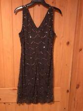 Pisarro Nights Charcoal Embellished Dress Size 10