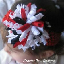 Red White Navy Blue July 4th Korker Hair Bow Soft Headband Fits Preemie 2 Adult