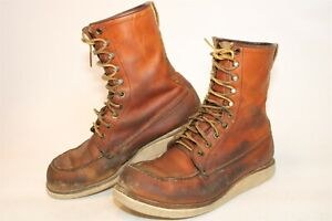 Red Wing Mens 9.5 D Distressed Leather 8-Inch Lace Up USA Made Work Boots 977