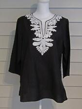 Appraisal Black w/ White Embellishment Applique Bracelet Sleeve Tunic Top XL