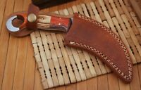 Double Stitch Custom Hand Made Pure Leather Sheath For Karambit Knife -k1