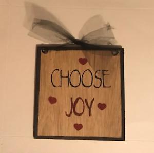 "CHOOSE JOY inspirational wall home decor wood sign 7x7"""