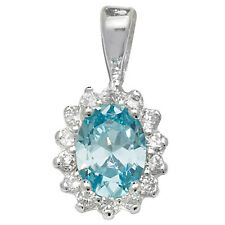 Sterling Silver Aquamarine and clear Cubic Zirconia Pendant