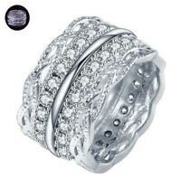 Ring Luxury White Silver Rings Women Engagement Sapphire Wedding 925 6-10 Size