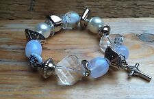 Eclectic Silver & White Bead Bracelet/Retro/Bobble/Chunky/Pearl/Glass/Charm