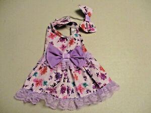 XS female Dog dress [purple flowers] cotton handmade