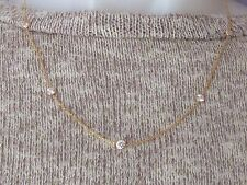 """14K Yellow Gold Cubic Zirconia Gemstone By The Yard Necklace 18"""" New"""