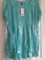 New Lace covered Tunic top /short Dress Size 22/24 Minty Green