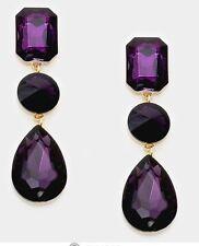 """3"""" Purple Gold Long Rhinestone Crystal Pageant drop Dangle Earrings"""