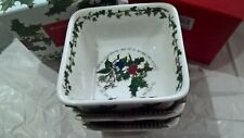 PORTMEIRION THE HOLLY AND THE IVY MINI SQUARE DISHES SET OF 3 NEW & UNUSED